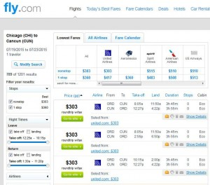 Chicago-Cancun: Fly.com Search Results 2