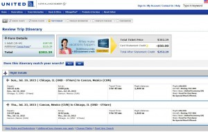 Chicago-Cancun: United Booking Page