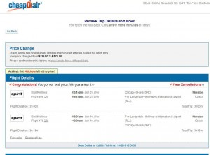 Chicago-Fort Lauderdale: CheapOair Booking Page