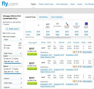 Chicago-Fort Lauderdale: Fly.com Search Results