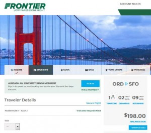 Chicago-San Francisco: Frontier Booking Page