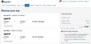 Chicago-Oakland: Expedia Booking Page