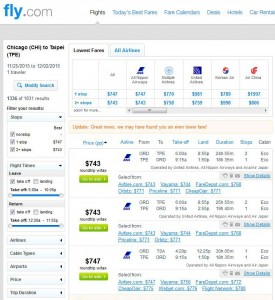 Chicago-Taipei: Fly.com Search Results