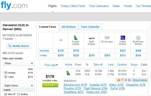 Cleveland-Denver: Fly.com Search Results