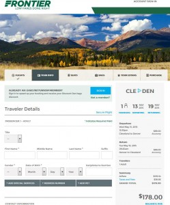 Cleveland-Denver: Frontier Booking Page