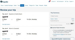 Cleveland-Myrtle Beach: Expedia Booking Page