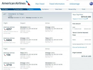 Cleveland-Tokyo: American Airlines Booking Page