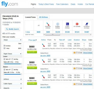 Cleveland-Tokyo: Fly.com Search Results