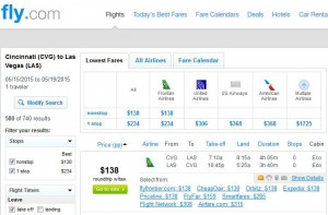 Cincinnati-Las Vegas: Fly.com Search Results 2