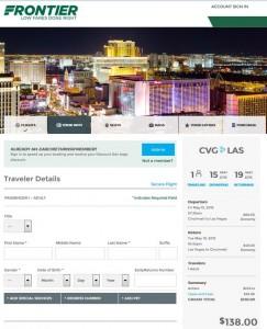 Cincinnati-Las Vegas: Frontier Booking Page