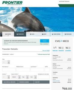 Cincinnati-Orlando: Frontier Booking Page