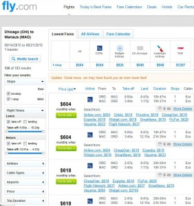 Chicago-Manaus: Fly.com Search Results