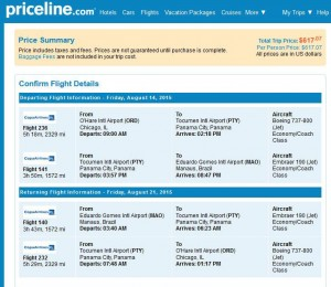 Chicago-Manaus: Priceline Booking Page