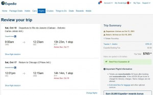 Chicago-Rio de Janeiro: Expedia Booking Page