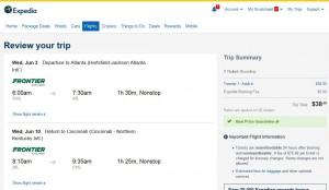 Cincinnati-Atlanta: Expedia Booking Page