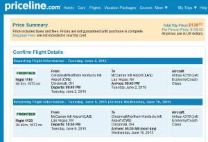 Cincinnati-Las Vegas: Priceline Booking Page