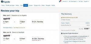 Cleveland-Los Angeles: Expedia Booking Page