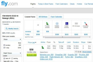 Cleveland-Raleigh: Fly.com Search Results