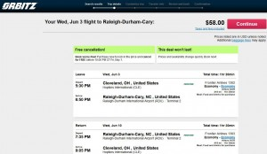 Cleveland-Raleigh: Orbitz Booking Page