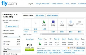 Cleveland-Seattle: Fly.com Search Results