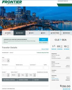 Cleveland-Seattle: Frontier Booking Page