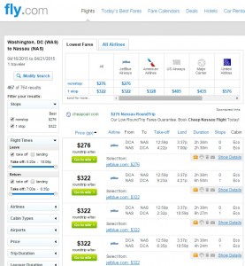 D.C. to Nassau, Bahamas: Fly.com Results