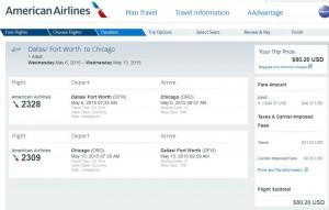 Dallas-Chicago: American Booking Page