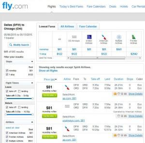 Dallas-Chicago: Fly.com Search Results