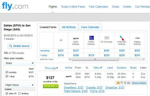 Dallas-San Diego: Fly.com Search Results