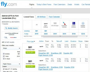 Detroit-Fort Lauderdale: Fly.com Search Results