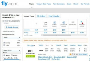 Detroit-New Orleans: Fly.com Search Results