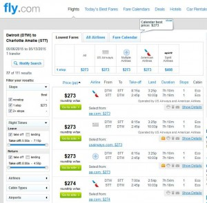 Detroit-Charlotte Amalie: Fly.com Search Results