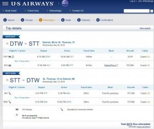 Detroit-Charlotte Amalie: US Airways Booking Page