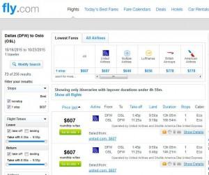 Dallas-Oslo: Fly.com Search Results