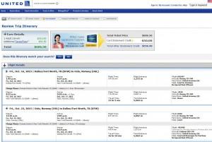 Dallas-Oslo: United Booking Page