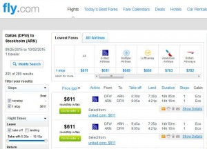 Dallas-Stockholm: Fly.com Search Results