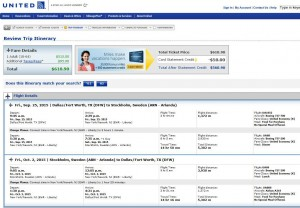 Dallas-Stockholm: United Booking Page