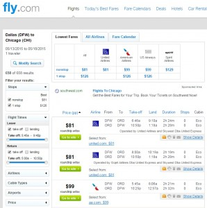 Dallas to Chicago: Fly.com Results
