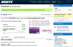 Denver to Austin: Orbitz Booking Page