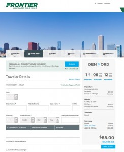 Denver to Chicago: Frontier Booking Page