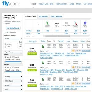 Denver to Chicago: Fly.com Results