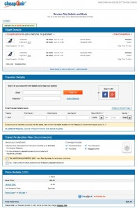 Denver to Iceland: CheapOair Booking Page