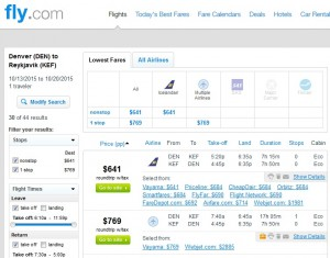 Denver to Iceland: Fly.com Results