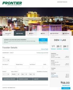 Denver to Las Vegas: Frontier Booking Page