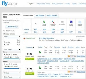 Denver to Miami: Fly.com Results