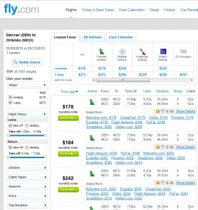 Denver to Orlando: Fly.com Results