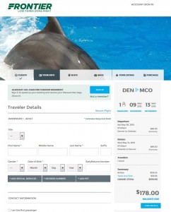 Denver to Orlando: Frontier Booking Page