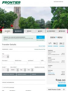 Denver to Raleigh: Frontier Booking Page