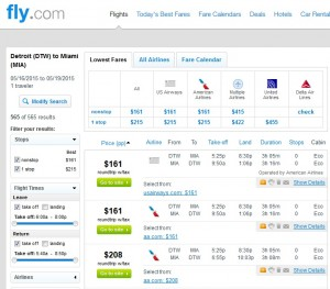 Detroit to Miami: Fly.com Results
