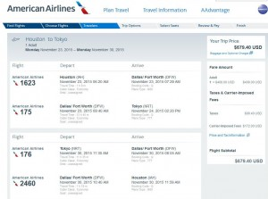 Houston-Tokyo: American Airlines Booking Page